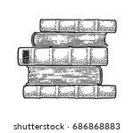pile of lying old books... | Shutterstock .eps vector #686868883