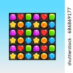 mobile game assets   match 3  ... | Shutterstock .eps vector #686869177