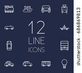 set of 12 traffic outline icons ... | Shutterstock .eps vector #686869813