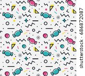 colorful seamless pattern with... | Shutterstock .eps vector #686872087