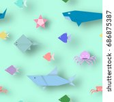 origami style crafted out of... | Shutterstock .eps vector #686875387