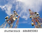 telecommunication mast tv...   Shutterstock . vector #686885083
