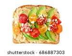avocado toast with hummus and... | Shutterstock . vector #686887303