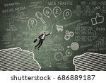 businesswoman flying with... | Shutterstock . vector #686889187