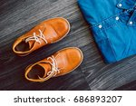 men's casual outfit with denim... | Shutterstock . vector #686893207