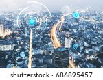 round icons of wifi  internet  ... | Shutterstock . vector #686895457
