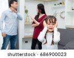 frustrated of little girl is...   Shutterstock . vector #686900023
