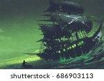 night scene of ghost pirate... | Shutterstock . vector #686903113