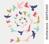 birds silhouette vector... | Shutterstock .eps vector #686931463