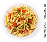 pasta with cheese and... | Shutterstock . vector #686935213