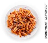 pasta with tomato sauce  | Shutterstock . vector #686936917
