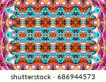 colorful horizontal ornament... | Shutterstock . vector #686944573