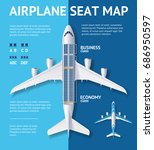 airplane seat map business or... | Shutterstock .eps vector #686950597