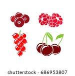 berries. healthy eating. red... | Shutterstock .eps vector #686953807