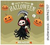 vintage halloween poster design ... | Shutterstock .eps vector #686961757