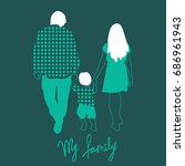 vector illustration family. mom ... | Shutterstock .eps vector #686961943