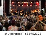 audience at outdoor music... | Shutterstock . vector #686962123