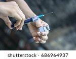 syringe  medical injection ... | Shutterstock . vector #686964937