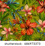 vibrant tropical pattern with... | Shutterstock . vector #686973373