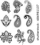 set of paisley | Shutterstock .eps vector #686981137
