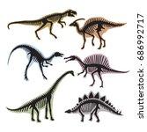 skeleton of dinosaurs. vector... | Shutterstock .eps vector #686992717