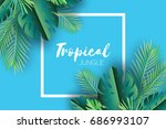 trendy summer tropical palm... | Shutterstock .eps vector #686993107