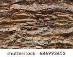 close up view of an old layered ... | Shutterstock . vector #686993653