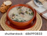 mushroom soup with chicken meat ... | Shutterstock . vector #686993833