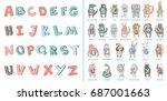 hand drawn alphabet  font ...   Shutterstock .eps vector #687001663