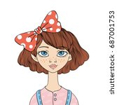 cute young blue eyed girl with...   Shutterstock .eps vector #687001753