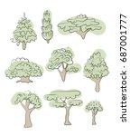 set of various trees. vector...   Shutterstock .eps vector #687001777