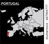 europe map portugal vector | Shutterstock .eps vector #687004777