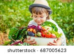 child and vegetables. selective ...   Shutterstock . vector #687005623