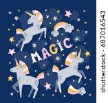 unicorn magic vector greeting... | Shutterstock .eps vector #687016543
