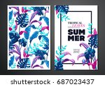 tropical palm leaves background.... | Shutterstock .eps vector #687023437