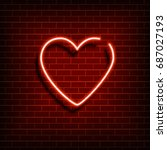neon heart. a bright red sign... | Shutterstock .eps vector #687027193