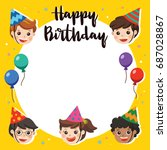 illustration card. happy... | Shutterstock .eps vector #687028867