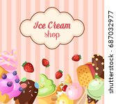 funny ice cream background.... | Shutterstock .eps vector #687032977