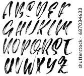 hand drawn dry brush font.... | Shutterstock .eps vector #687034633