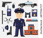character cartoon policeman.... | Shutterstock .eps vector #687036727