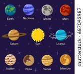 planets solar system vector... | Shutterstock .eps vector #687043987