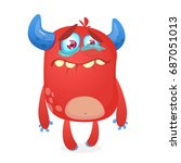 crying cute monster cartoon.... | Shutterstock .eps vector #687051013