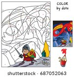 knight in the dragon's cave.... | Shutterstock .eps vector #687052063