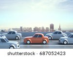 side view of highway with... | Shutterstock . vector #687052423