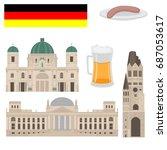flat building of berlin  travel ... | Shutterstock .eps vector #687053617