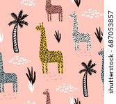 seamless pattern with giraffe ... | Shutterstock .eps vector #687053857