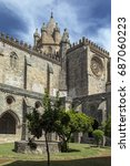 Small photo of Evora Cathedral (the Se) in the city of Evora in Portugal. Evora is a UNESCO World Heritage Site.