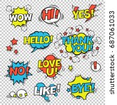 hi  yes  thank you  hello  wow  ... | Shutterstock .eps vector #687061033