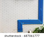 blue water pipe on the white...   Shutterstock . vector #687061777