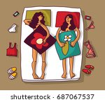 lesbian homosexual naked woman... | Shutterstock .eps vector #687067537